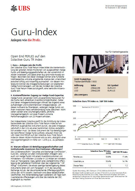 Open End PERLES auf den Solactive Guru Total Return Index factsheet