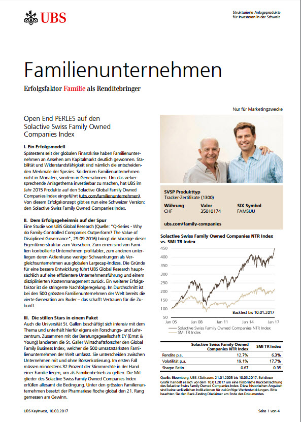 Open End PERLES auf den Solactive Swiss Family Owned Companies Index Factsheet