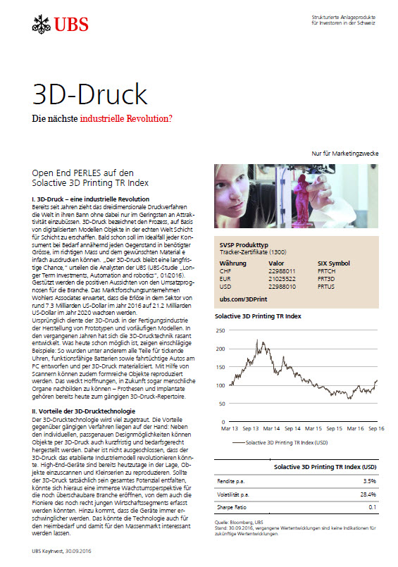 Open End PERLES auf den Solactive 3D Printing Total Return Index Factsheet