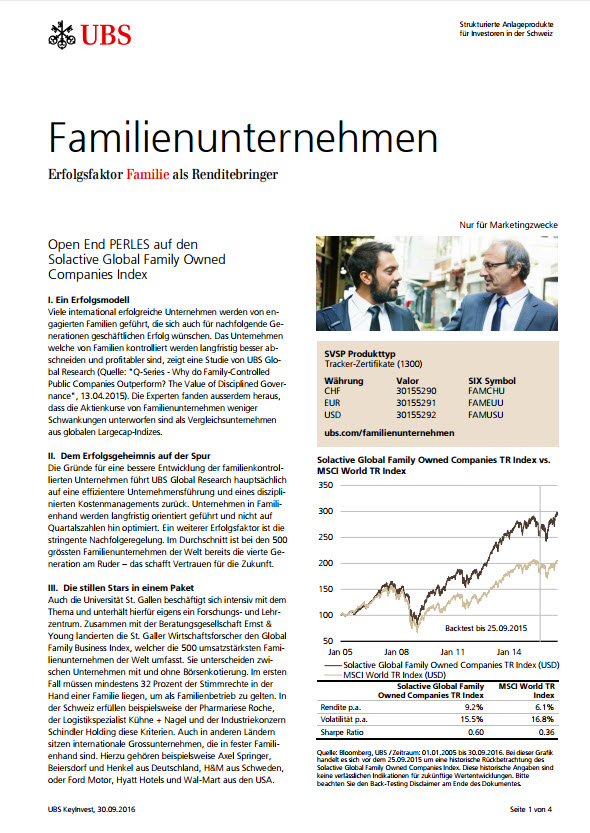 Open End PERLES auf den Solactive Global Family Owned Companies Index Factsheet