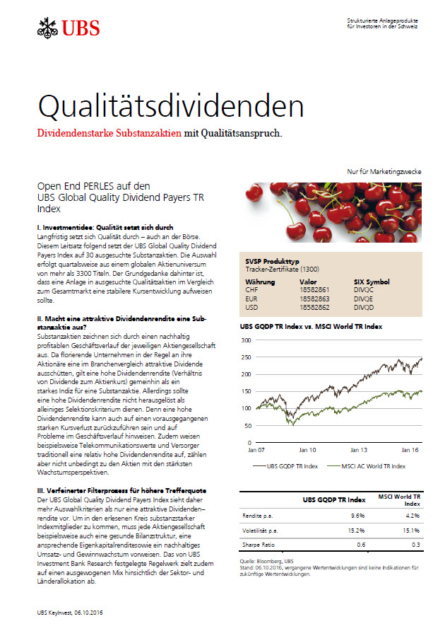 Global Quality Dividend Payers Index Factsheet